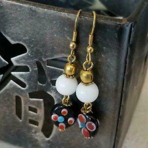 Handmade India Lampwork Glass Raw Brass Earrings